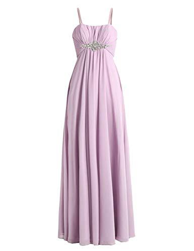 HUINI Brautjungfernkleider Lang Ballkleid Abendkleider Chiffon Empire Brautkleider Rückenfrei Festkleider Lila 52