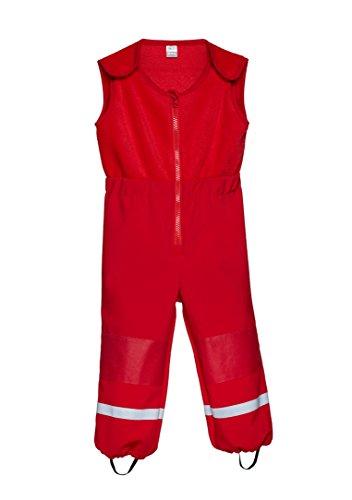 be baby! Softshell-Matschhose Cargo mit Fleece Weste/Fleece Latz für Kleinkinder (Wassersäule: 10.000 mm), rot, Gr. 104-110