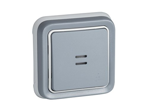 Legrand, 191511 Plexo - Interruptor de pared luminoso, pulsador estanco de superficie de la gama Plexo, interruptor exterior, resistente al agua (IP55), color gris