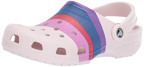 Crocs Classic Graphic Clog | Slip On Water Shoes, barely pink/multi, 9 M US Women / 7 M US Men