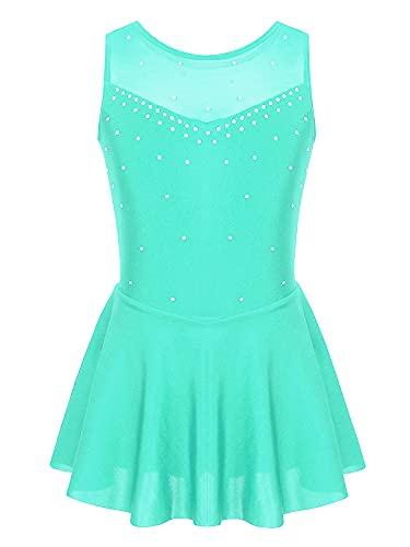 IEFIEL Vestido Brillante de Patinaje Artistico Niña Vestido Elástico de Danza Latina Maillot con Falda Plisada de Gimnasia Disfraz Bailarina Verde 9-10 años