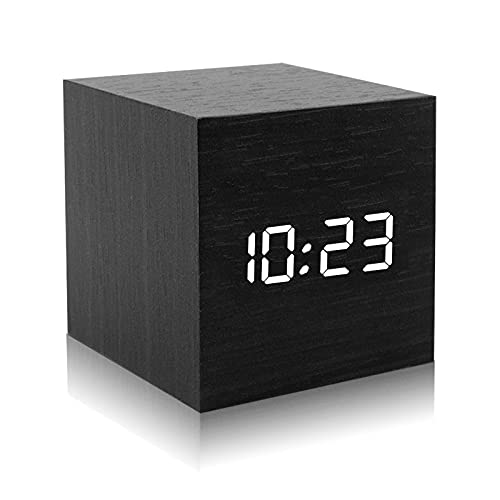 DASIAUTOEM Réveil Numérique LED, Horloge en Bois Réveil de Chevet Réveil Digital avec Contrôle Sonore Fonction Snooze Luminosité Réglable Alarm Réveil LED avec USB Recharger Température Calendrier