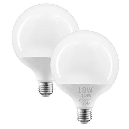 2x Lampadine LED E27 18W Professionali Garanzia 5 anni Opaca (2000 lumen equivalenti a 124W) - Forma: Globo G120 - Luce Bianco Freddo 6400K - Fascio Luminoso 200°