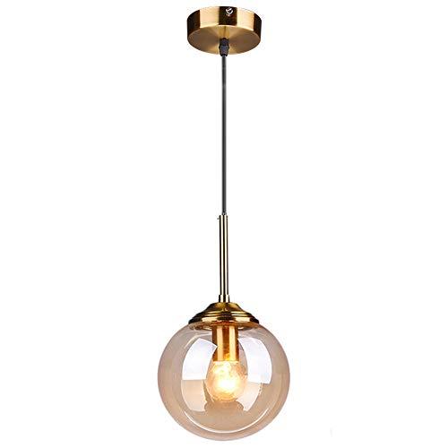 MZStech Industrial Retro Loft Glass Globe Lámpara colgante, lámpara de racimo Lámpara colgante Accesorio Accesorios de latón (Ámbar)