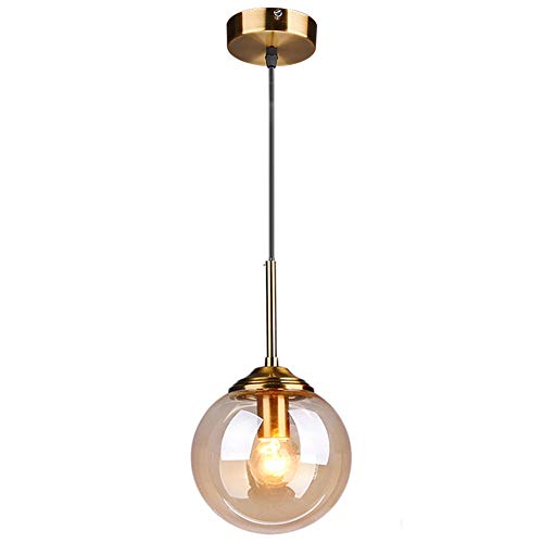 MZStech Globe en verre Loft rétro industriel Suspension, lustre en grappe Lampe suspendue Fixation Raccords en laiton (Ambre)