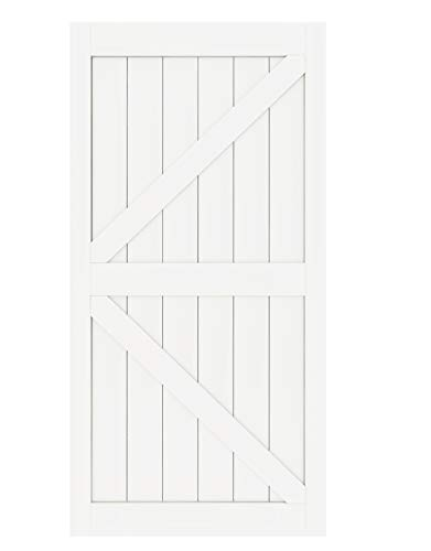 DIYHD K 42X84inch White Sliding Barn Slab MDF Solid Core Primed Interior Door Panel(Disassembled) White-42X84