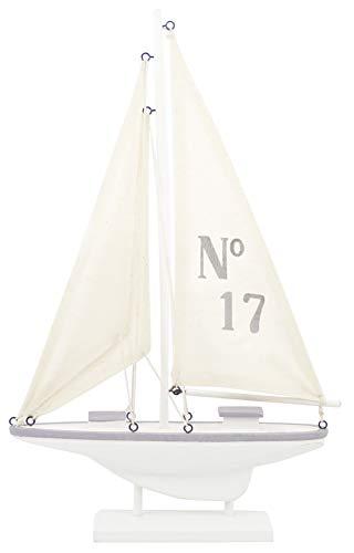 Générique Figura de decoración, Modelo velero, pequeño, Madera, Color Blanco/Gris, Madera, Blanco y Gris, 23 x 28 x 4 cm