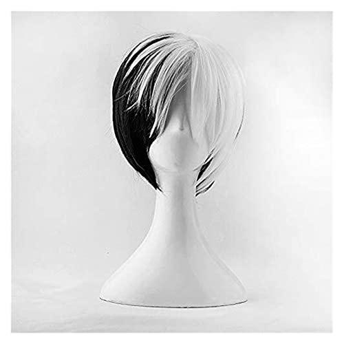 PRTOYO Blanco Corto Negro Mezclado Mullido Resistente al Calor Cosplay Cosplay Wig + Tapa de Peluca Libre