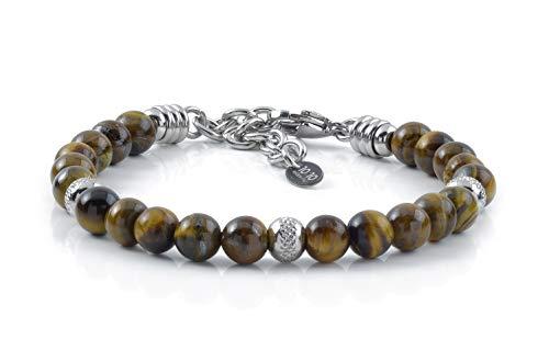 10:10 Bracciale con pietre naturali occhio di tigre, beads in acciaio inox, prodotto in Italia