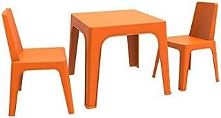 resol Julieta set infantil de 2 sillas y 1 mesa para interior, exterior, jardín - color naranja