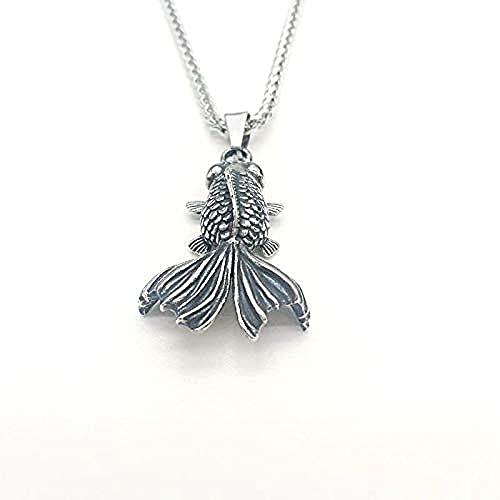 NC190 Collar con Colgante de pez Dorado de Acero Inoxidable 316l Collar de pez Dorado Animal de Moda para Hombre con Ojo de Piedra roja