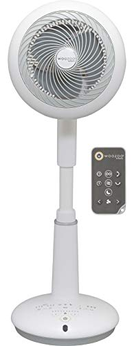 Iris Ohyama, Ventilateur sur Pied puissant et Ultra-Silencieux avec oscillation 3D, Moteur DC Jet et télécommande - Woozoo - STF-DC15T, Blanc/ Noir, 25 W, Portée de 31 M