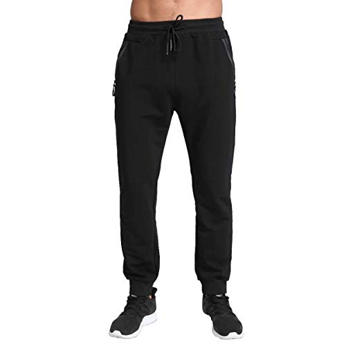 Tansozer Men's Lightweight Joggers Casual Slim Sweatpants Track Pants with Zipper Pockets (Black, Large)