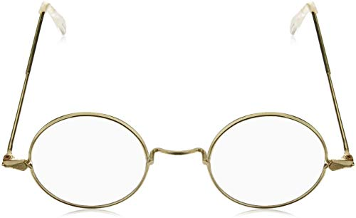 4E's Novelty Gold Rimmed Round Circle Costume Glasses Kids Fake Glasses Harry Potter Wizard Accessories Boys Girls – Vintage Frame Glasses Non-Prescription