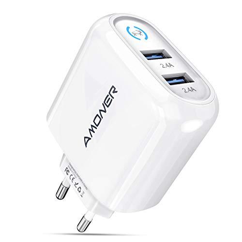 Amoner 24W 2.4A USB Ladegerät 2-Port Ladeadapter für iPhone12 X XS, iPad, Android Cellphone mit USB Anschluss, Tablette mit USB Anschluss