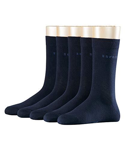 ESPRIT Damen Solid 5-Pack W SO Socken, Blickdicht, Blau (Marine 6120), 36-41 (5er Pack)