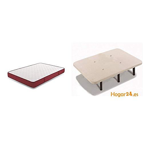 HOGAR24 ES - Conjunto de descanso 80 x 180 cm - Colchón Viscoplus Reversible espesor 15 cm + Base Tapizada Con Tejido 3D, Válvulas De Transpiración y 6 Patas De Metal 26 cm