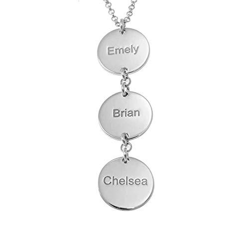 Collar familiar collar con nombre grabado para mujer collar con nombre personalizado colgante de disco aniversario para mamá(Plata 16)