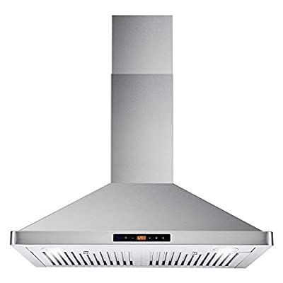 Cosmo 63175S 30 in. Wall Mount Range Hood with Ductless Convertible Duct, Ceiling Chimney-Style Stove Vent, LEDs Light, Permanent Filter, 3 Speed Fan in Stainless Steel