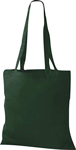 Shirtinstyle premium stoffen tas katoenen tas tas shopper schoudertas, kleur bottlegreen