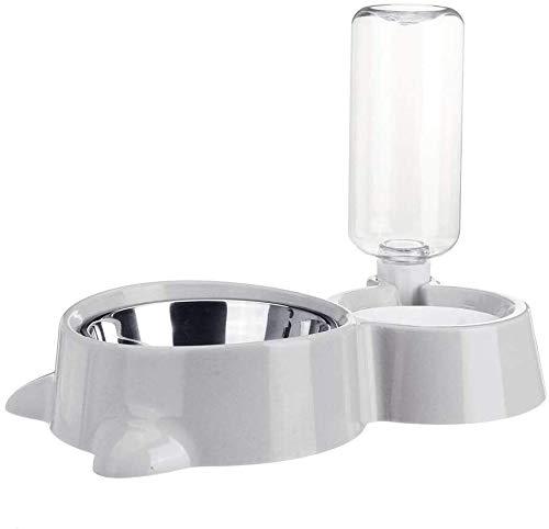 Pet Waterer Automatic Pet Dog Cat Smart Voedsel Water Feeder Bowl Dish W / 500ml drank fles huisdier Waterer Gemakkelijk te water en schone toevoegen dmqpp (Color : Gray, Size : 500ml)