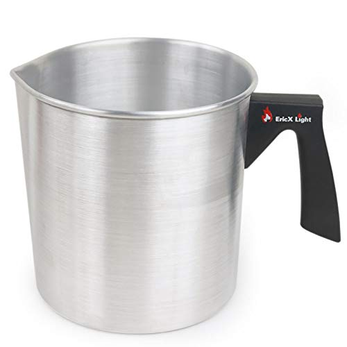 EricX Light Candle Making Pouring Pot,2 pounds,Double Boiler Wax Melting Pot,Dripless Pouring Spout & Heat-Resisting Handle Designed,Aluminum Construction Candle Making Pitcher