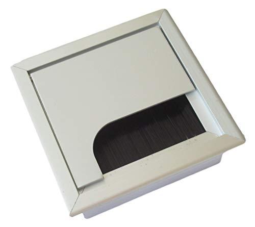 80x80mm Kabeldurchführung für Schreibtisch/Tisch – aus Aluminium gebürstet in Edelstahl-Optik