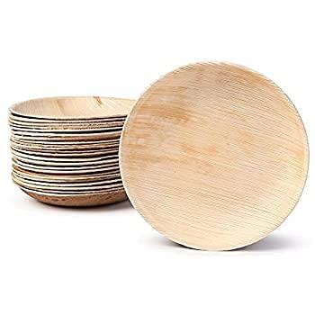 Platos desechables de hoja de palma | 25 unidades | Platos biodegradables de forma redonda | 7 pulgadas – 18 cm | Vajilla 100% natural de hoja de palma Areca.