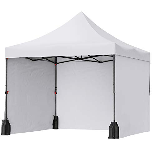 SONGMICS Pop Up Canopy Tent 10 x 10 Feet, Anti-UV Canopy, Waterproof Stable Commercial Instant Shelter, with Side Walls Sandbags Wheeled Carry Bag, Outdoor Wedding Patio Events, White UGCT33WT