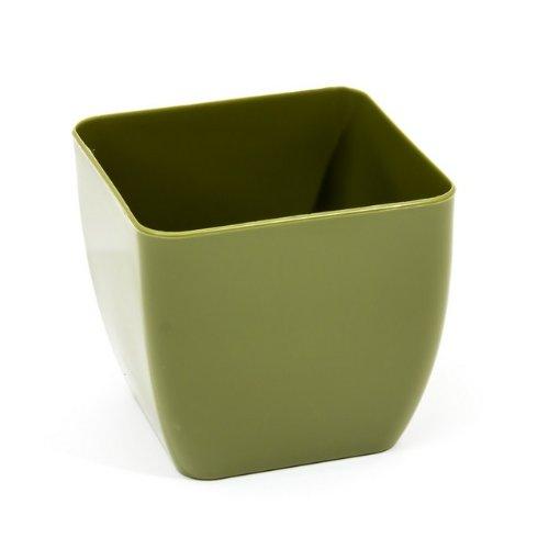 Alcée Support pot carré en 2 tailles et 5 couleurs, vert olive, 14x14 cm (5.5x5.5 in)
