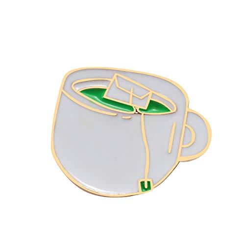 Chaquetas de dibujos animados lapel camiseta Pins taza de café té verde moda mini pin mujeres niños joyería insignia