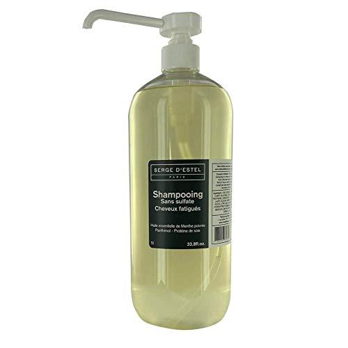 Shampoo zonder sulfate panthenol 1 l shampoo voor beschadigd haar, verkwikkend en hydraterend. Niet getest op dieren.