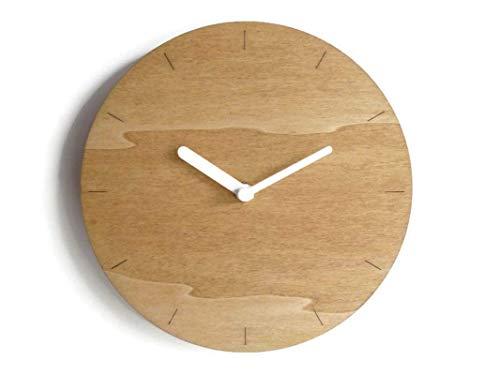 28cm Piccolo orologio da muro in legno tondo silenzioso per salotto colorato come noce chiaro Particolari orologi a parete con meccanismo al quarzo senza ticchettio Design italiano basic moderno