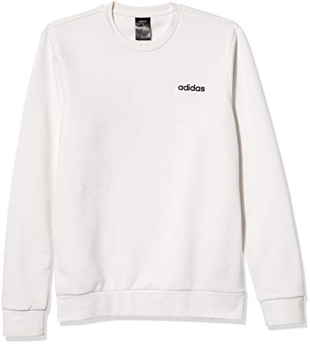 adidas Men Plain Fleece Sweat Suéter, Blanco, S para Hombre