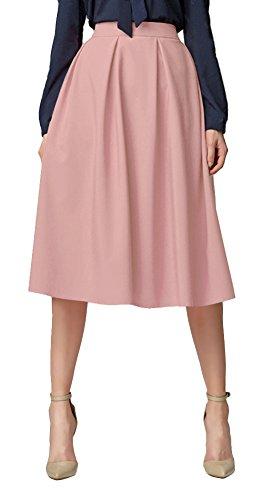 Urban GoCo Mujeres Vintage Falda Midi Plisada A-Line con Bolsillos Faldas Larga (M, Pink)