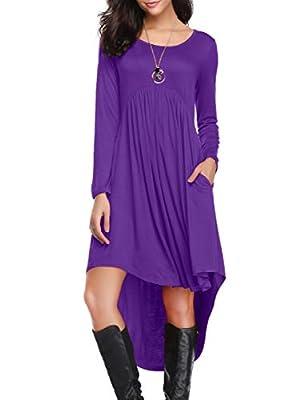 LARACE Women's Casual Long Sleeve Pockets Loose Pleated High Low Swing Dress