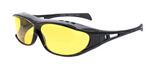 rainbow safety Herren Überbrille Sonnenbrille für Brillenträger Schutzbrille für Sport Radfahren Skifahren Angeln Auto Nachtsichtbrille Polarisierte Gläser RWN20 (Nachtfahrbrille)