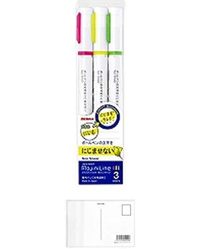 ゼブラ 蛍光ペン ジャストフィット モジニライン【3色セット】WKS22-3C ×5 セット + 画材屋ドットコム ポストカードA