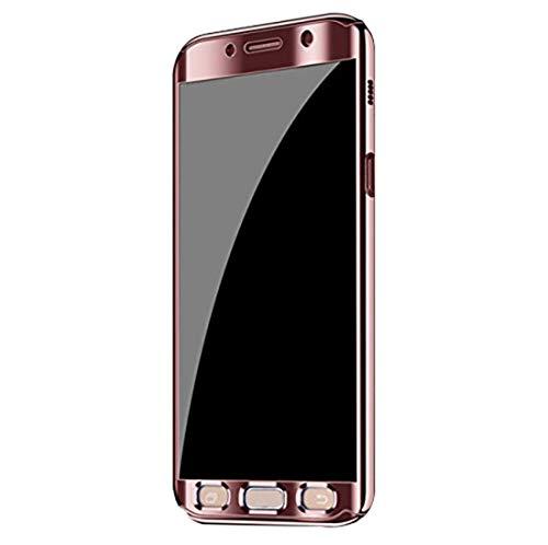 Qissy Hülle für Galaxy A5 (2017) /Galaxy A7 (2017), Ultra Thin 3 in 1 Handytasche Hart Spiegel Schutzhülle für Galaxy A5 (2017) /Galaxy A7 (2017) Cover (Hell-Pink, Samsung Galaxy A5 (2017))