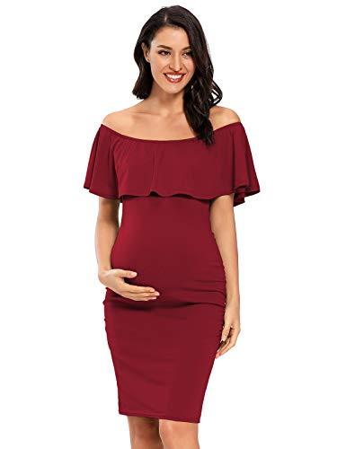Jezero Damen Umstandskleid Schulterfrei Rüschen Ärmellos Bodycon Kleid für Baby Dusche - Rot - Groß
