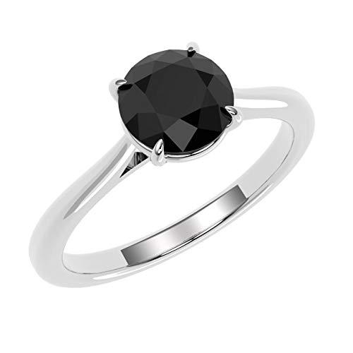 1.00carati nero diamante solitario anello in oro giallo 18K e Oro giallo, 56 (17.8), cod. SDR0326.8