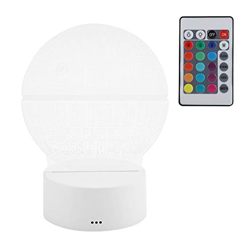 Veilleuse LED 3D Lampe Star Wars, Mode de Transformation Multicolore Veilleuse Enfant Lampe avec Câble USB et Télécommande pour Anniversaire Deco Ambiance Créatif(Blanc avec Télécommande)