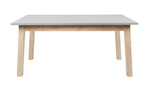 EPIK Tavolo da pranzo in rovere Endgrain e grigio, allungabile con 2 piastre da 160/240 x 90 cm