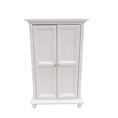 Canjerusof Miniature Dollhouse Furniture 1:12 Dollhouse Wooden Wardrobe for Living Room Bed Room Dollhouse Decoration White