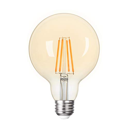 Vintage LED Edison Bulb Dimmable 6W Led Filament Bulb 60W Incandescent Equivalent, G30 Globe Led Light Bulbs 580LM 2700K Warm White Amber Glass Antique LED Bulb with E26 Base for Bedroom Dining Room