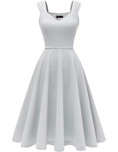 DRESSTELLS Damen 1950er Midi Rockabilly Kleid Vintage V-Ausschnitt Hochzeit Cocktailkleid Faltenrock Silver S