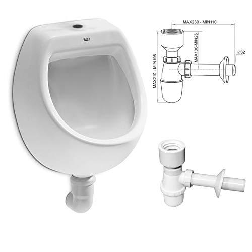 VBChome- Set: Urinal Zulauf Oben Weiß Modern Hochwertig Keramik Pinkelbecken senkrecht Pissoir Mini + Siphon Flaschensiphon A50132