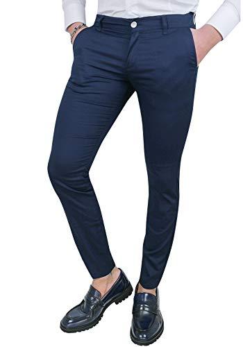 Cristiano Battistini Pantaloni Uomo Slim Fit Casual Eleganti in Cotone (42, Blu)
