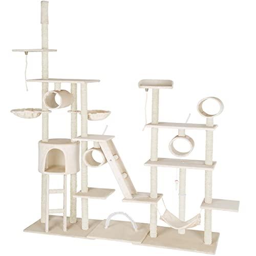tectake 800918 XXL Katzen Kratzbaum mit 2 Spielseilen, 4 Röhren, 2 Treppen, 2 Liegemulden, Häuschen und Hängematte, deckenhoch (Beige   Nr. 403916)