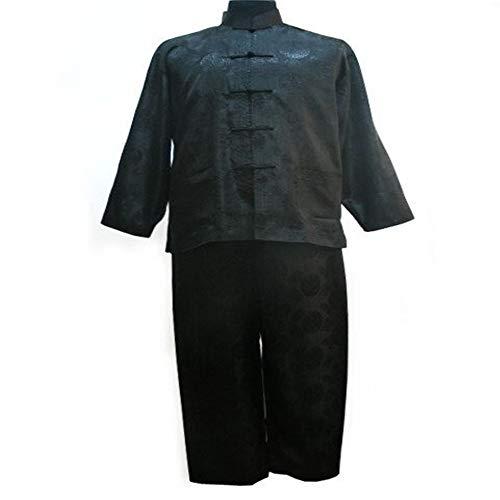 Chino Estilo de los Hombres de Pijamas Set Raso Botón Pijamas de época Juego de la Camisa y Las Bragas de la Ropa de Noche Ropa de Dormir (Color : Black, Size : XXXL)